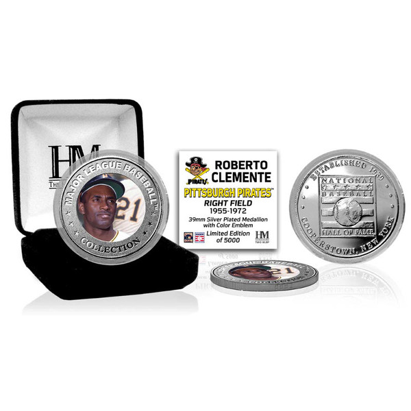 Highland Mint Roberto Clemente Pittsburgh Pirates Hall of Fame Silver Photo Coin