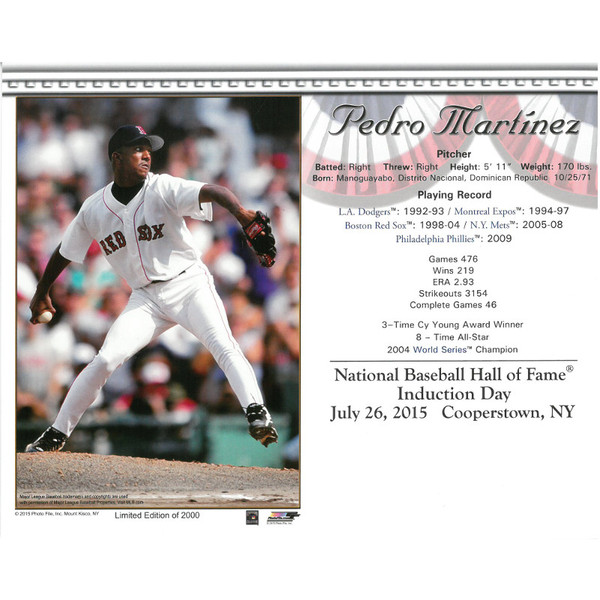 Pedro Martinez Boston Red Sox 2015 Hall of Fame Induction 8x10 Photocard