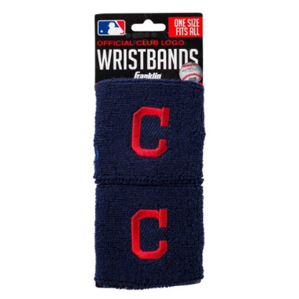 """Franklin Sports Cleveland Indians Pair of 2.5"""" Wristbands"""