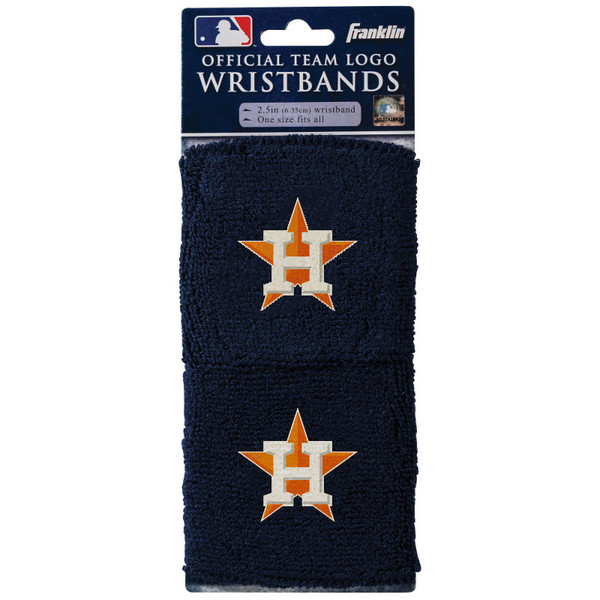 """Franklin Sports Houston Astros Pair of 2.5"""" Wristbands"""