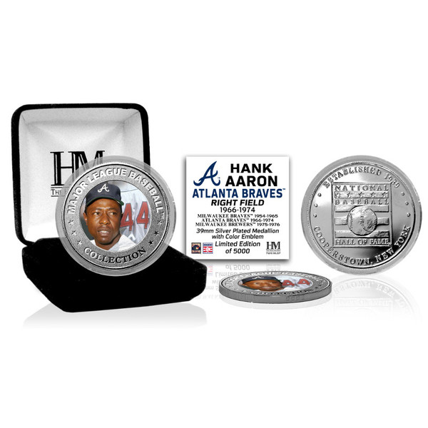 Highland Mint Hank Aaron Atlanta Braves Hall of Fame Silver Photo Coin