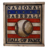 Vintage Distressed Wood 12 x 13 Baseball Hall of Fame Square Logo