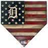 Detroit Tigers Distressed Wood Handmade 17 Inch Home Plate Flag