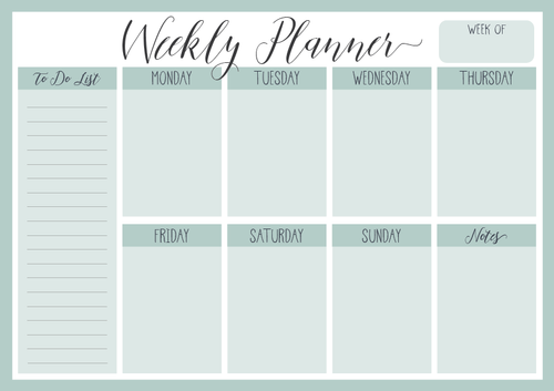 Mint - Weekly Planner