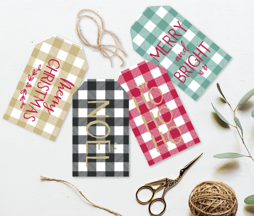 Gingham Christmas Tags
