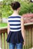 Sleeveless, standard back, peplum length twirl skirt