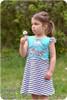 Sleeveless w/ flutter sleeves, knee-length a-line skirt