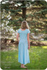 Short sleeves, scoop back, a-line maxi skirt
