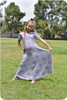 Short sleeves with flutters, a-line maxi skirt