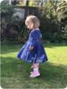 Long sleeves, basic back, knee-length twirl skirt