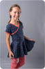 Madeline Crossover Dress and Top Sewing Pattern: short sleeves with peplum circle skirt