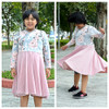 Madeline Crossover Dress and Top Sewing Pattern: long sleeves with knee-length circle skirt
