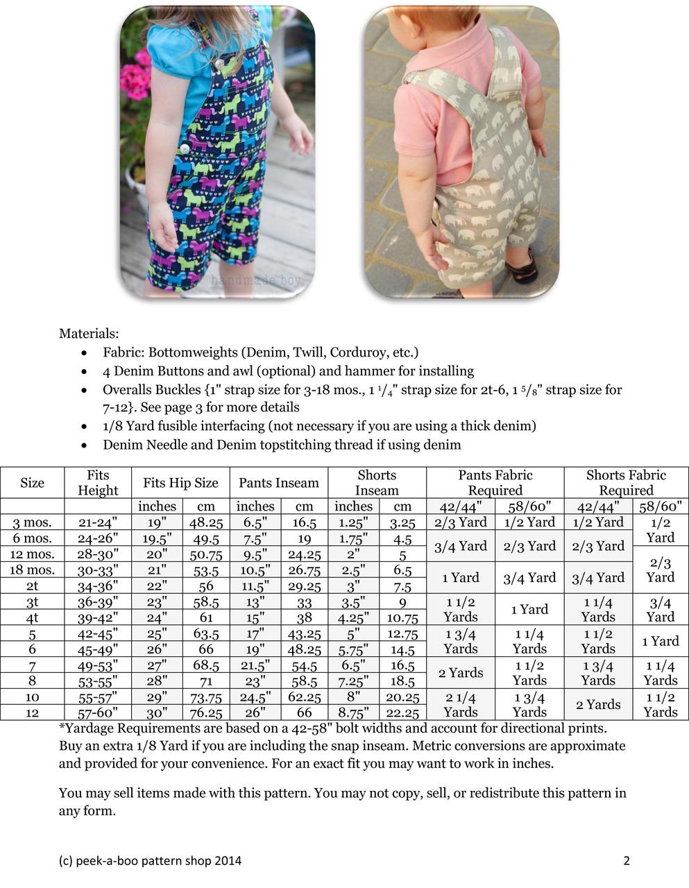 5250629fa6d5c Okey Dokey Overalls Sewing Pattern · Okey Dokey Overalls Size Chart ...