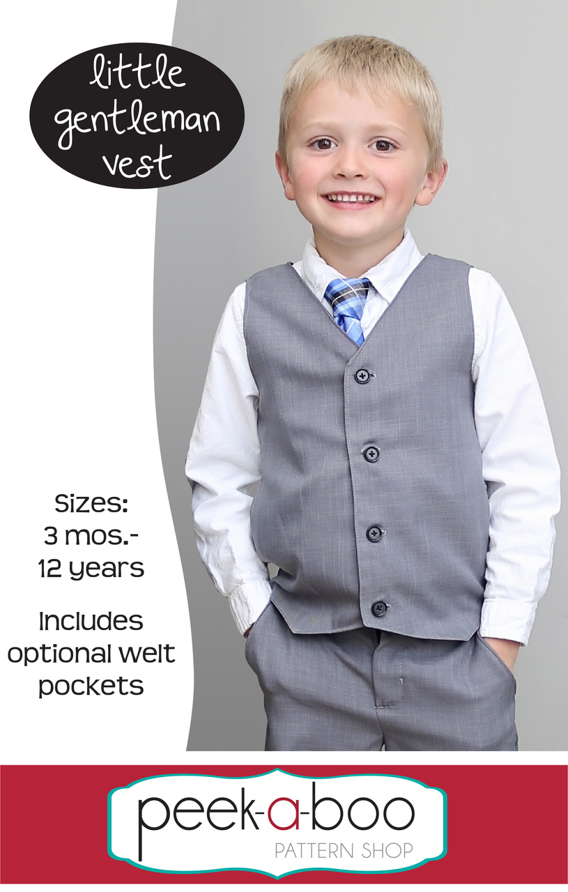b9660e37e Little Gentleman Vest - Peek-a-Boo Pattern Shop