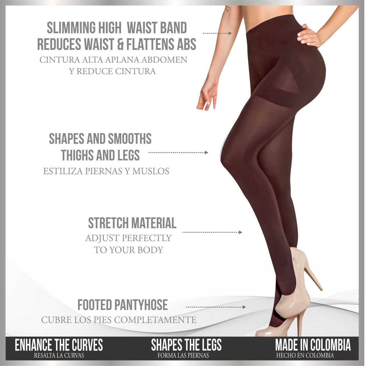 Licras Levanta Cola ARANZA Women Footed Thigh Slimmer Shapewear Tights