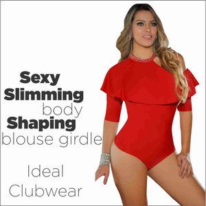 Colombian Body Blouse Shaper with Tummy Control Powernet  Red
