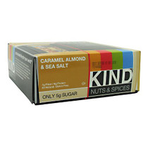 Kind Nuts & Spices, Caramel Almond & Sea Salt, 12 Bars