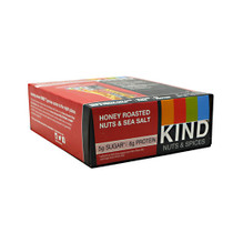 Kind Fruit & Nut, Honey Roasted Nuts & Sea Salt, 12 - 40g/1.4 oz bars [480g (16.8 oz)]