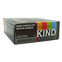 Kind Nuts & Spices, Dark Chocolate Mocha Almond, 12 Bars