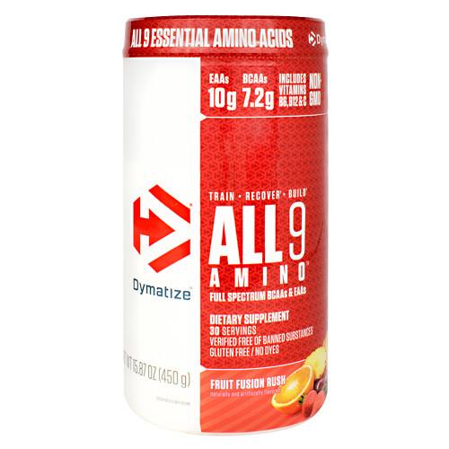 All 9 Amino, Fruit Fusion Rush, 30 servings- 15.87 oz (450g)