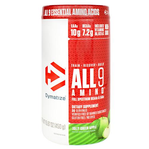 All 9 Amino, Jolly Green Apple, 30 servings- 15.87 oz (450g)