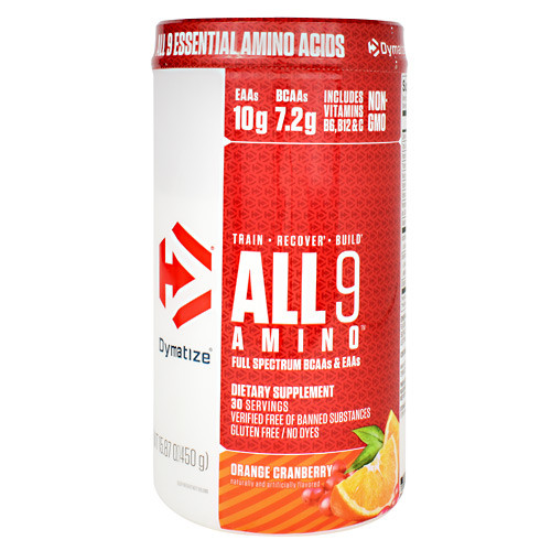 All 9 Amino, Orange Cranberry, 30 servings- 15.87 oz (450g)