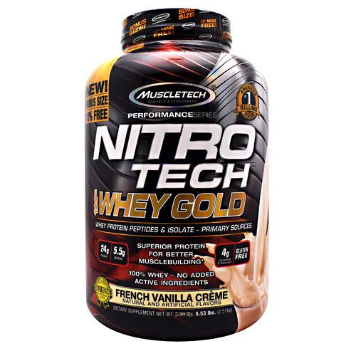 Nitro Tech 100% Whey Gold, French Vanilla Creme, 5.53 lbs (2.51 kg)