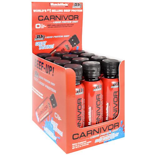 Carnivor Liquid Protein Shot, Blue Raspberry, 12 (4 fl oz) Bottles