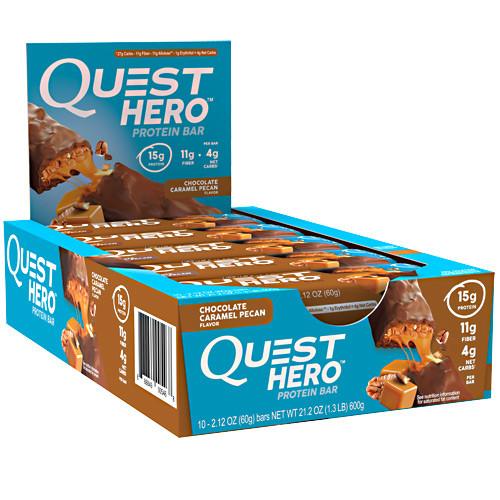 Hero Bar, Chocolate Caramel Pecan, 10 - 2.12 oz Bars