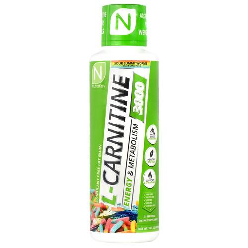 L-carnitine 3000, Sour Gummy Worms, 16 FL OZ