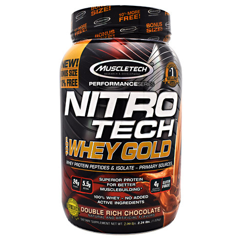 Nitro Tech 100% Whey Gold, Double Rich Chocolate, 2.24 lbs (1.02 kg)