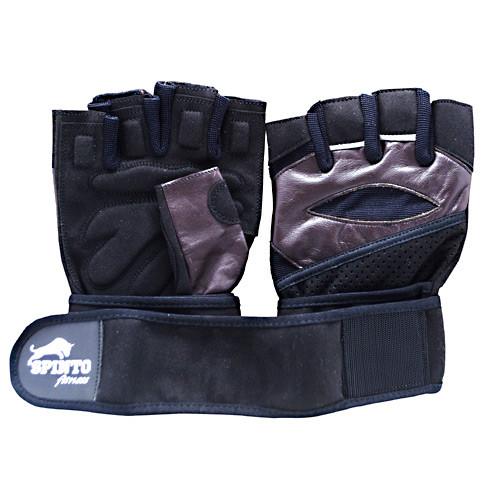 Men's Workout Glove W/ Wrist Wraps, Brown/gray, LG