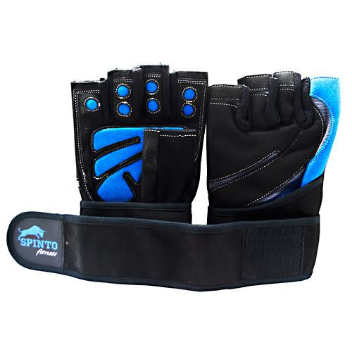 Men's Workout Glove W/ Wrist Wraps, Blue/gray, LG