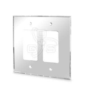 Decora, Acrylic Double Rocker Switch Mirror Plate, Grey