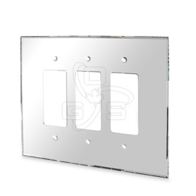 Decora, Acrylic Triple Rocker Switch Mirror Plate, Grey