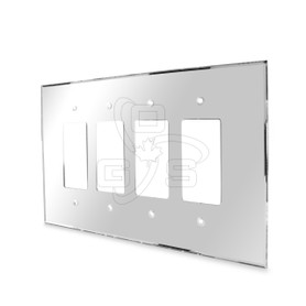 Decora, Acrylic Quad Rocker Switch Mirror Plate, Grey