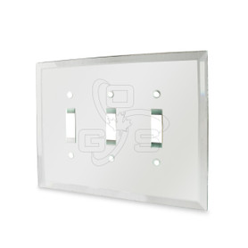 Decora, Glass Triple Toggle Switch Mirror Plate, Clear