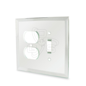 Decora, Glass Single Toggle Switch & Duplex Combo Mirror Plate, Clear