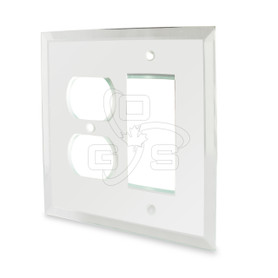 Decora,  Glass Single Rocker Switch & Duplex Combo Mirror Plate, Clear