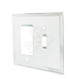 Decora, Glass Single Rocker & Toggle Switch Combo Mirror Plate, Clear