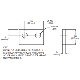 Truth Hardware 20947 Backing Plate Diagram