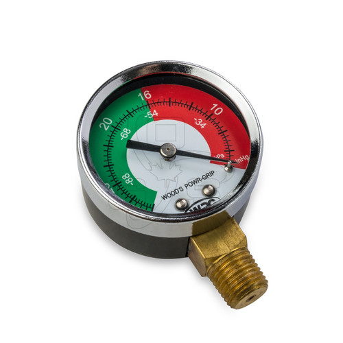 Woods, Dual Scale Vacuum Gauge, 1/4 Male-NPT LM X 2IN Dial, 15930