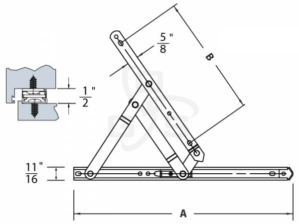 Image of Amesbury Truth 34/35 Series 4-Bar Non-handed Hinge Arm Length Specification