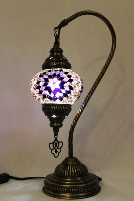 Mosaic Small Swan Table Lamp Purple