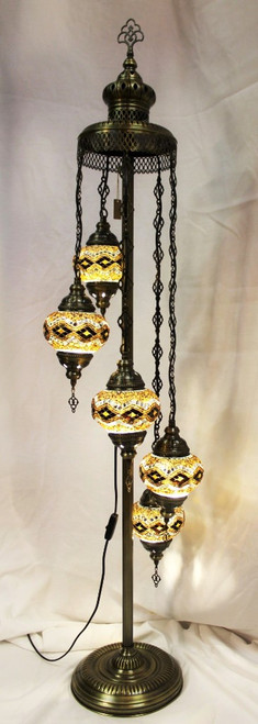 Mosaic Floor Lamp 5 Globes Brown-Yellow