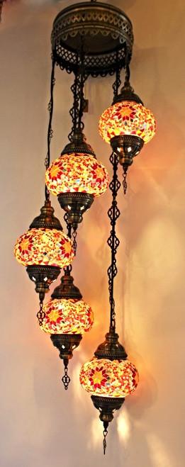 Mosaic Ceiling Lamp 5 Globes Red-Orange Spiral