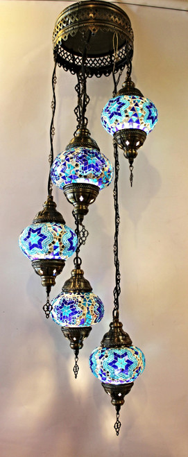 Mosaic Ceiling Lamp 5 Globes Blue Spiral