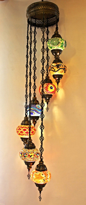 Mosaic Ceiling Lamp 7 Globes Colorful