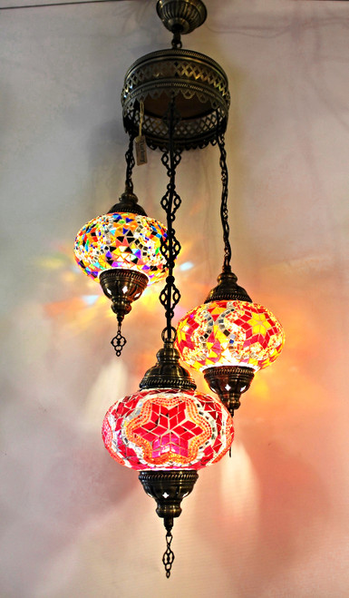 Mosaic Ceiling Lamp 3 Lg Globes 3 Colors