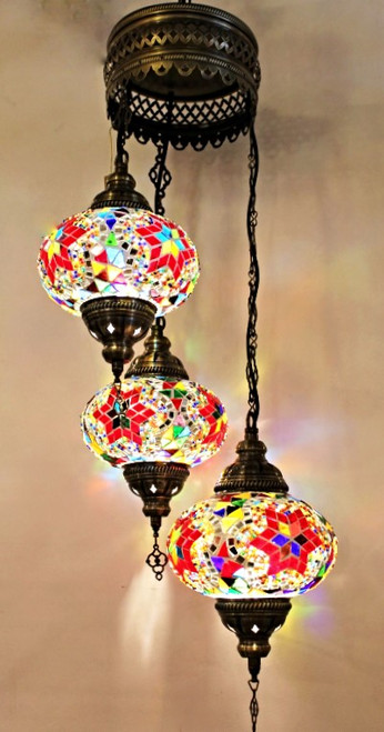 Mosaic Ceiling Lamp 3 Lg Globes Mulricolor